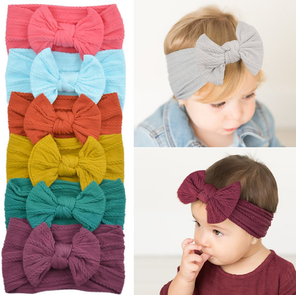 Diadema para niñas Baby Bowknot Turbante Chica Sólido Suave Headwraps Niños Boutique Princesa Diademas Nylon Moda Foto Accesorios para el cabello B6047