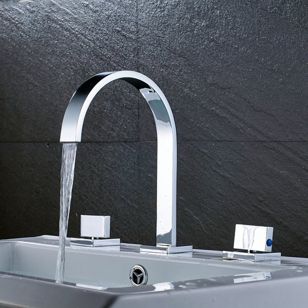 top popular Modern Luxury Chrome polished dual handle deck mounted basin faucet hot and cold water mixer square basin sink tap 2019