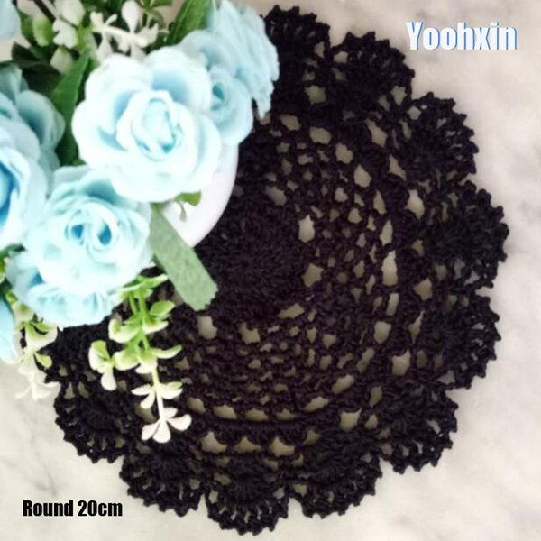 Modern cotton placemat cup coaster mug kitchen wedding dining table place mat cloth lace Crochet drink doily Handmade pad