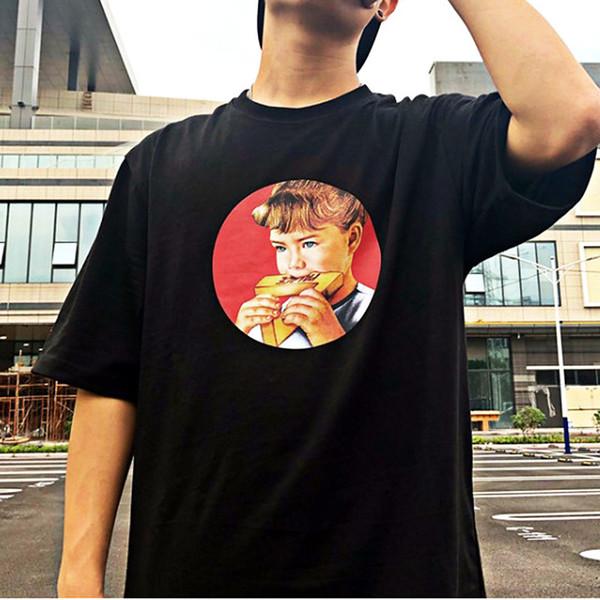 Camiseta para mujer Nueva llegada Little Girl Eats Pizza HD Impresión digital Camiseta corta Diseñador de la marca de verano Para mujer Ropa para hombre Tamaño: M-XL