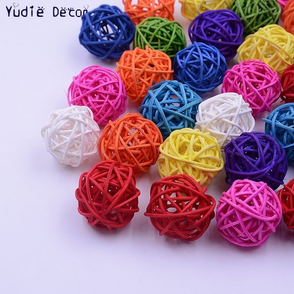20Pcs/lot 3cm Straw Ball For Birthday Party Wedding Decoration Rattan Decor Christmas Decor Home Ornament Supplies