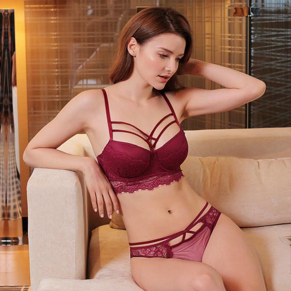 Lcw Fashion Women New Spessore Cup Maglie raccolte Sexy intimo di pizzo Pose Hip Slip Reggiseno Set all'ingrosso