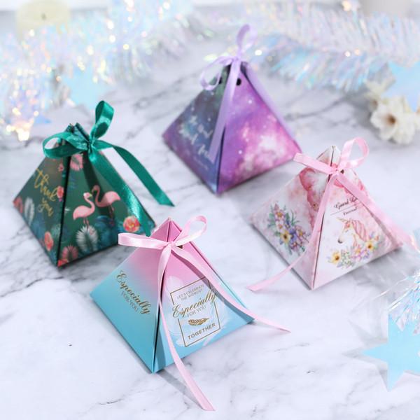Треугольная пирамида коробка конфет с лентами свадьба сувениры подарки коробки конфеты сумки для гостей Baby Shower партии украшения Supplies