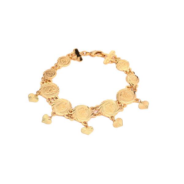 Coin Bracelet For Women Arab Bracelet Middle Eastern Coins Heart Pendant Middle Eastern Bangle Jewelr