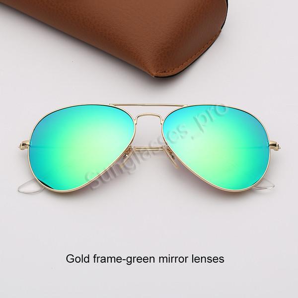 Altın çerçeve-yeşil ayna lensleri