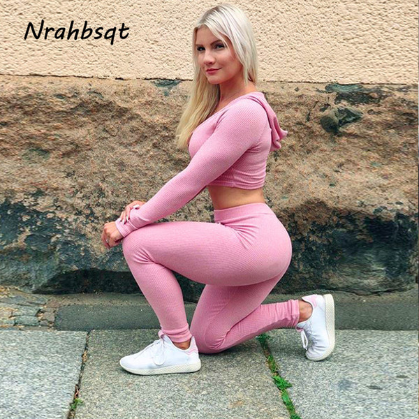 NRAHBSQT Knitting Women Jogging Sets 2 Piece Hoodie Top And Pants Yoga Fitness Sports Suit Woman Running Clothes Sportswear RS61