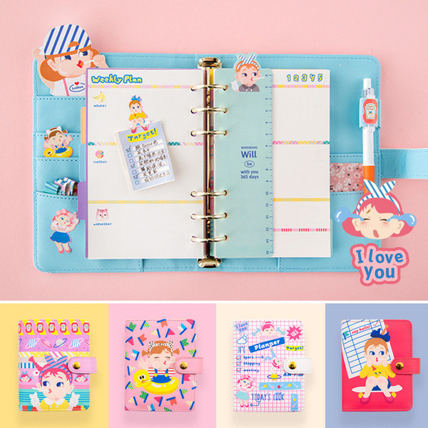 A6 A7 Notebook 2018/2019 Agenda Planner Organizer Dividers Pu Leather Spiral Weekly Personal Travel Diary Journal Cute Note Book