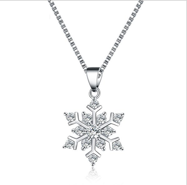 925 silver snowflakes Pendant Necklace With the crystal Necklaces Luxury Charm Necklace Fashion Christmas gift Statement Jewelry