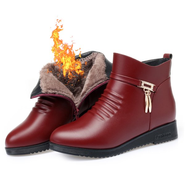 winter mother shoes middle-aged shoes, women's cotton shoes, flat non-slip boots, plus velvet, warm middle-aged women's t
