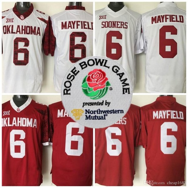 2018 Mens NCAA Heisman Rose Bowl Patch Jersey Oklahoma Sooners #6 Baker Mayfield Red White Limited Stitched College Football Jerseys