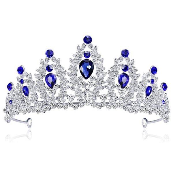 MVEXO Baroque Silver Color Blue Crystal Wedding Tiara Brides Headband Bridal Rhinestone Pageant Tiaras and Crowns Hair Jewelry KMVEXO Bar...