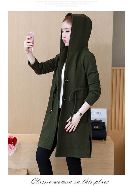 P Ammy kadın Kış Kapüşonlu Artı Boyutu Kapitone Pamuk Katı Uzun Hırka Örme Ceket Kore Uzun Kollu Ceket Ceket