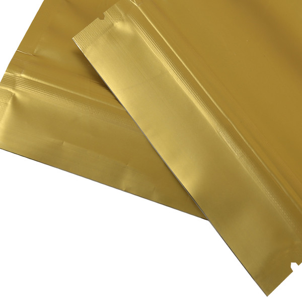 Hot sale 10x15cm/ 4x6in Tear Notch Matte Gold Heat Sealing Aluminum Foil Mylar Stand Up Zip Storage Bag Pouch