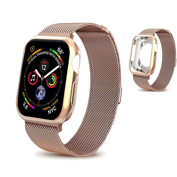 Milanese loop strap case for apple watch 4 band case iwatch band 44mm 40mm Space bracelet belt wrist Colck watchband Case Cover