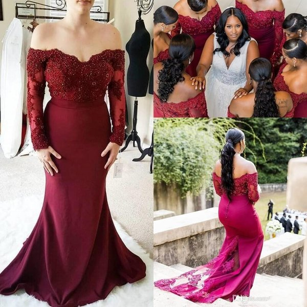 2019 New Burgundy Long Sleeves Mermaid Bridesmaid Dresses Off Shoulder Lace Appliques Beads Wedding Guest Dress Formal Maid Of Honor Gowns