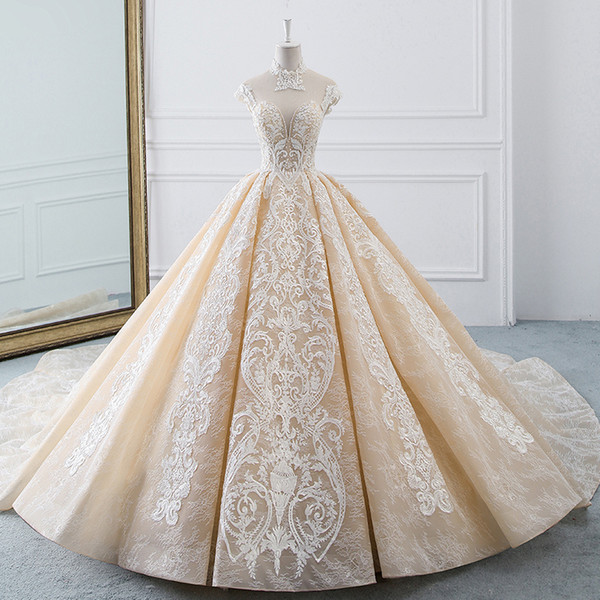 2019 Real Picture Muslim Arabic Wedding Dresses High Neck Lace
