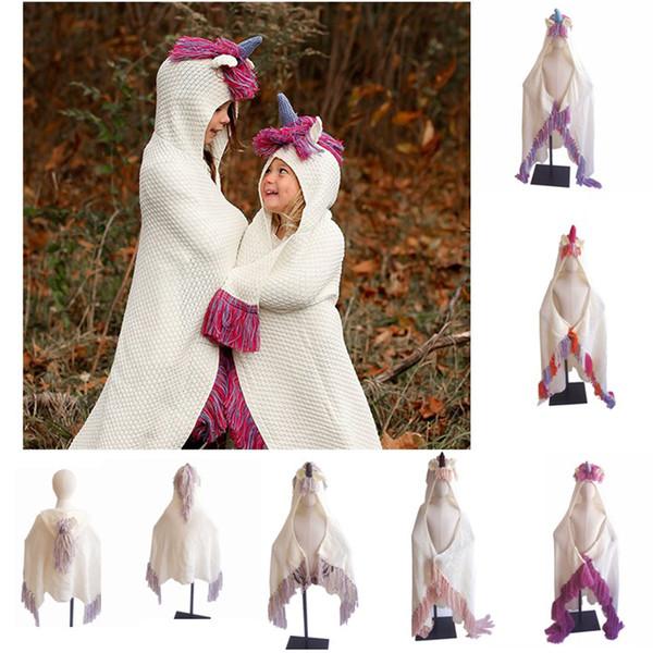INS children tassel Knit Blanket boys girls cartoon unicorn Hooded Cape Warm winter Shawl cloak Baby Christmas Sleeping Swaddle