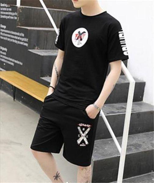 Summer 2PCS Short Sleeve Mens Tracksuits Teenager Fashion Print Sports Sets Crew Neck Shorts Running 2PCS Clothing