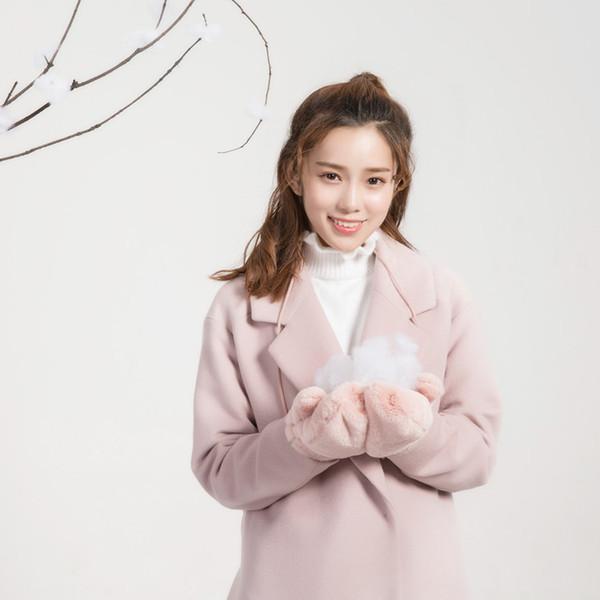 Fashion-2018 New Winter Japanese Sweet Women Gloves Chic Warm Winter Gloves Knitting Faux Wool Black Pink One Size