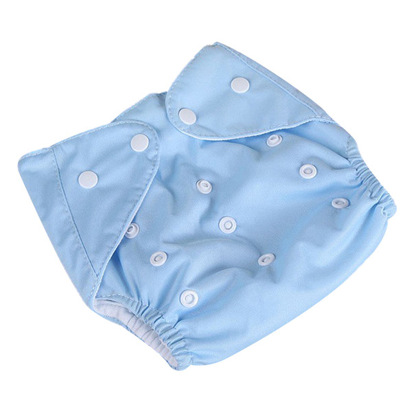 [QianQuHui] 0-3 Years Old Baby Reusable Nappies Adjustable Washable Breathable Cloth Diapers Cover Training Shorts Button Blue