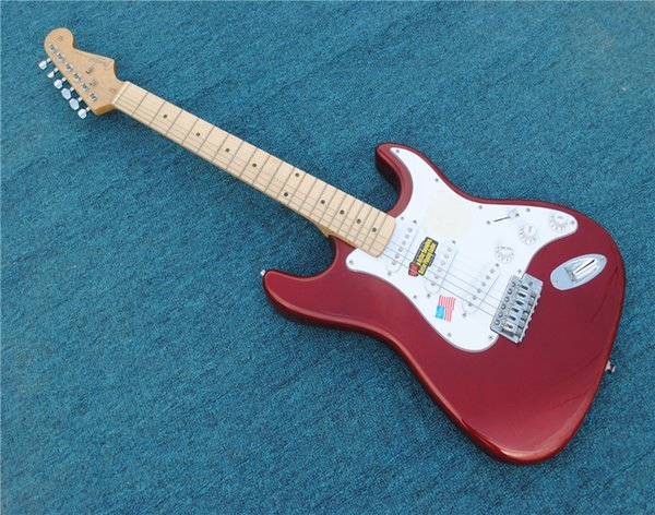 Free Shipping Factory custom red guitar, SSS pickup, white shield. Free Delivery