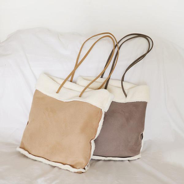Female Faux Fur Handbag Ladies Soft Plush Shoulder Bag Casual Warm Winter Leisure Tote Bags for Women Fabric Cloth Handbags