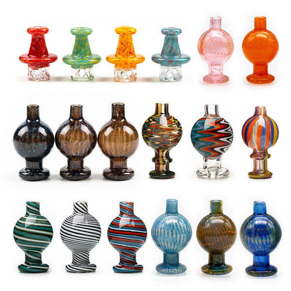 top popular Volcanee 10 Style Glass Bubble Carb Cap, US carb cap, Cyclone Spinning carb caps for 25mm quartz banger Nails terp pearl bong 2021