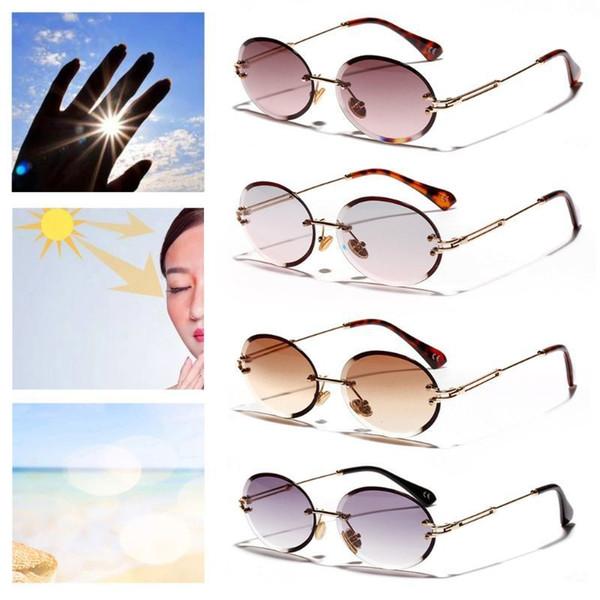 Новые Солнцезащитные Очки Без Оправы Модные Тенденции Горячий Поп Мужская Защита Очки Женщины Мужчины Открытый Вождения Без Рамки Металлические Ноги Овальные Uv400