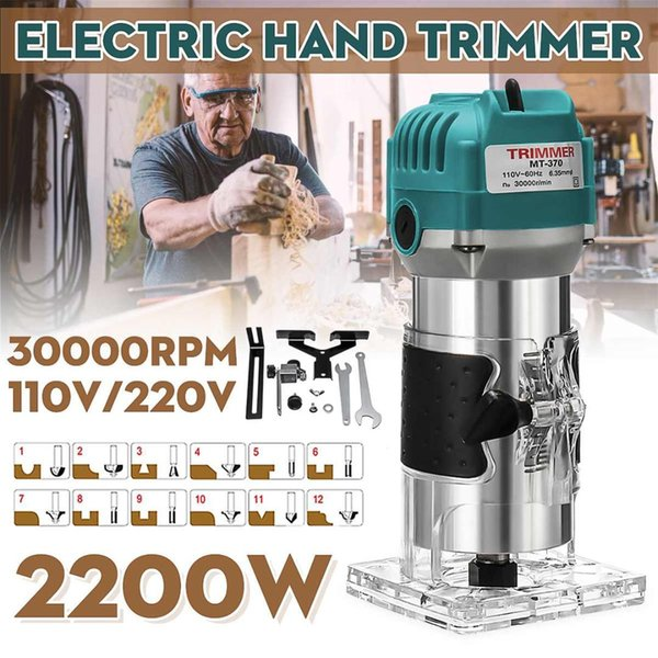 110V / 220V 2200W 6.35mm Electric Hand Trimmer Holz Laminat Palms Router Tischler Router für Holzbearbeitungs Tool Kit