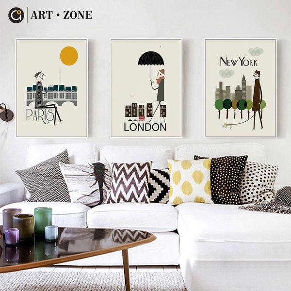 ART ZONE Cartoon Animation City Canvas Painting New York London City Art Print Wall Poster Paris Modern Minimalist Painting