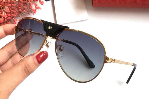 Diseño de Francia Nueva moda Hebilla de cuero Gafas de sol Marco de metal Estilo de tornillo dorado Diseñador de marca para hombres Mujeres Piloto Conductor Gafas lunettes