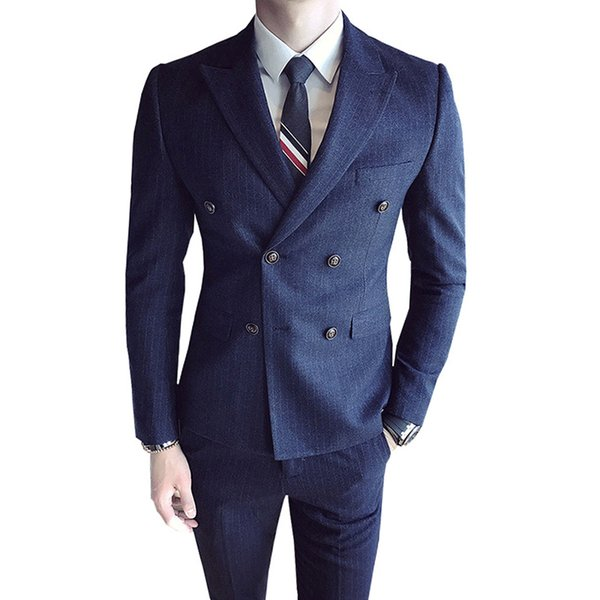 (Chaqueta + Veterinarios + Pantalones) Traje de doble botonadura formal para hombres de marca de marca de gama alta 2 juegos / Trajes de novio