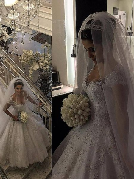 Bling Beaded Crystal Bodies Lace Ball Gown Wedding Dresses 2019 Sweetheart Short Sleeve Applique Open Back Bridal Dress Wedding Gowns