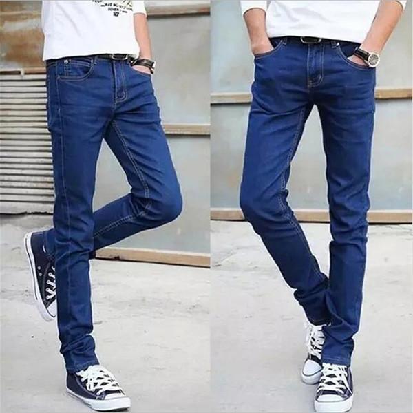 295909aad Compre Pantalones Vaqueros Hombres 2019 Azul Microprojectile Cultivarse Uno  Mismo Edición Coreana Pantalones Lápiz Hombres Jeans Hombre Jean Homme ...