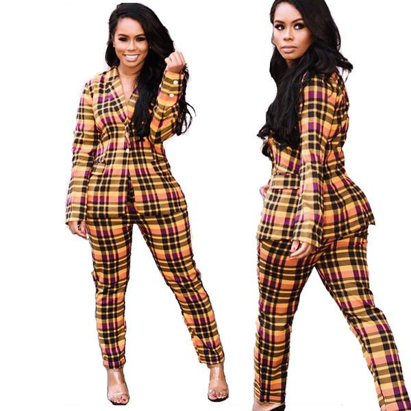 Mulheres Xadrez 2 Peça Define Moda Lapela Pescoço Único Botão Breasted Voar Camisa de Manga Longa Bolso + Calça Longa Magro Calça Casual Terno Roupas