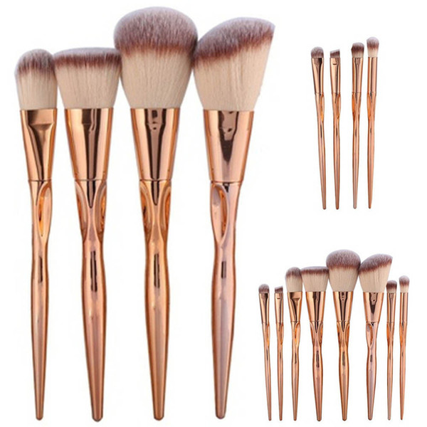 4/8pcs A Set Metal Makeup Brushes Cosmetic Face Foundation Power Eyeshadow Blush Make Up Brush Kit Maquiagem Cotton Pad Dfdf