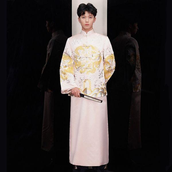 Compre Nova Chegada Cheongsam Masculino Estilo Chinês Traje O Noivo Vestido De Jaqueta Longa Vestido De Casamento Tradicional Chinês Homens Vestido De