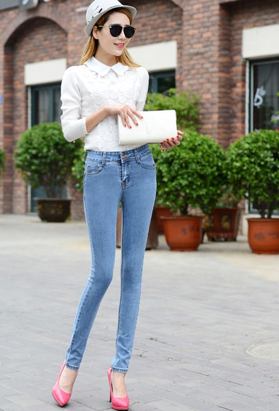 New fashion casual style blue dark blue light blue high waist ladies jeans / pencil pants.