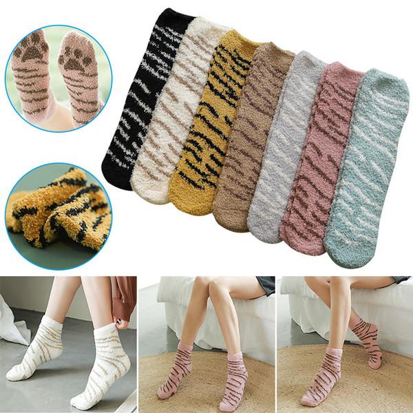 winter cats cute thick warm sleep floor socks mid-tube women velvet socks asd88