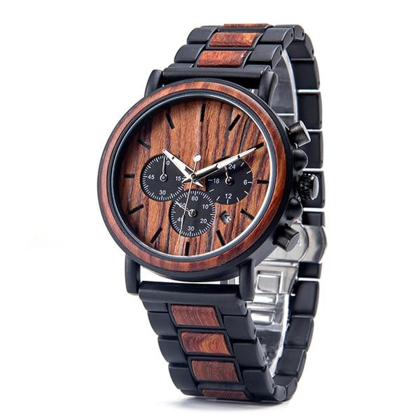 Business Men Watch Metal Wood Wristwatch Chronograph Date Display with Gift Box relogio masculino Quartz Clock