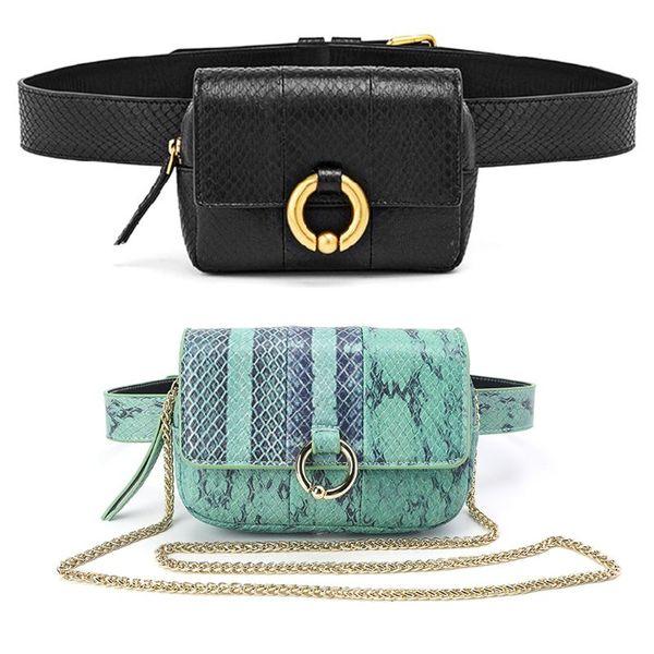 NoEnName_Null Fashion PU Waist Fanny Hip Pack Python Belt Bag Pouch Travel Bum Mini Sling Shoulder Bags Women Small Purse
