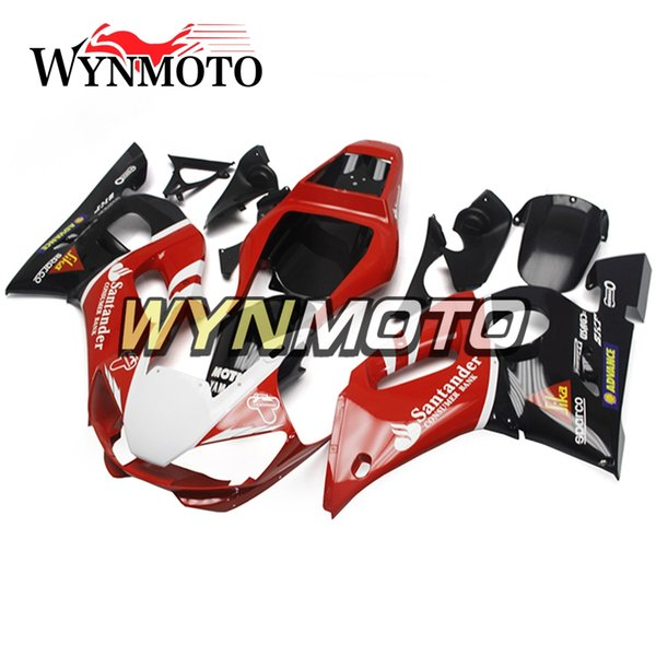 ABS Injection Panels Santander Red Black Bodywork New For Yamaha YZF-600 R6 Year 1998 1999 2000 2001 2002 Complete Plastic Cowling Kit