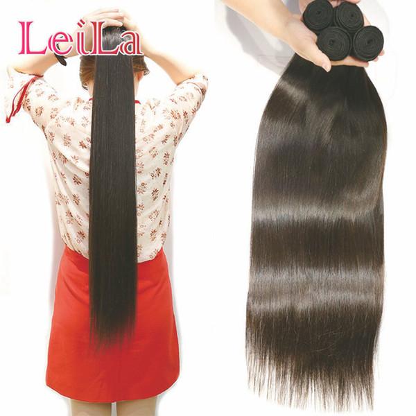 Leila Malezya Düz Saç Demetleri Doğal Renk% 100% İnsan Saç Dokuma Paketler 30-34 inç Remy Saç Uzatma 2 Parça / torba