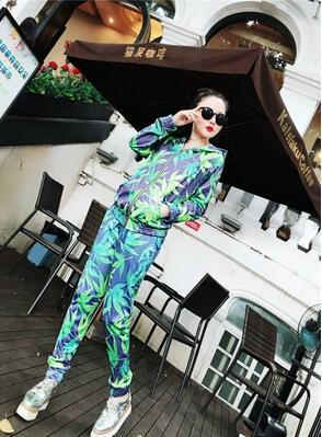 Spring women's suit, women's sports suit, two pieces of leisure, fashion, large size, loose design,autumn hat, European free shipping