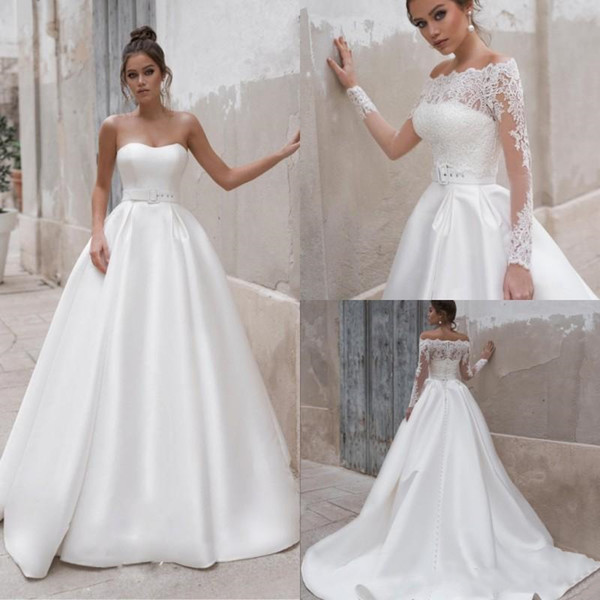 Discount Naviblue 2019 White Satin Wedding Dresses With Jacket Long Sleeve  Summer Beach Country Plus Size Wedding Dress Bridal Gowns Wedding Party ...