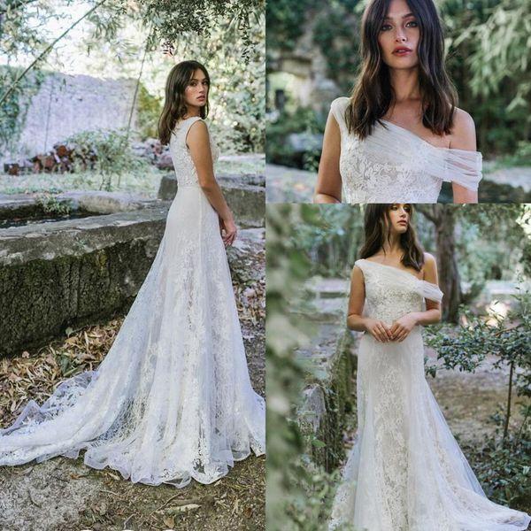 Discount Vintage Lihi Hod Wedding Dresses 2019 Retro Full Lace Sweep Train  Bohemian Country Farm Off Shoulder Bridal Informal Wedding Gown Plus Size  ...