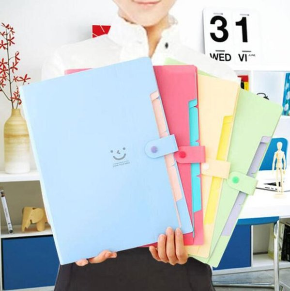 top popular A4 Candy Colore Multi Layer File Packet Bags Document Waterproof Expanding File Filing Products Office & School Supplies HA638 2021