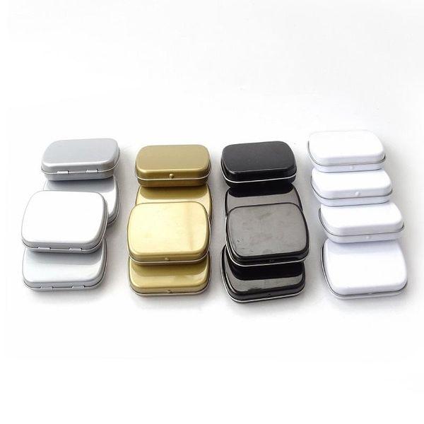 200 pz 60 * 47 * 15mm Mini scatola di latta piccola scatola di immagazzinaggio vuota in metallo bianco argento nero organizzatore per soldi moneta caramelle chiavi 20180920 #