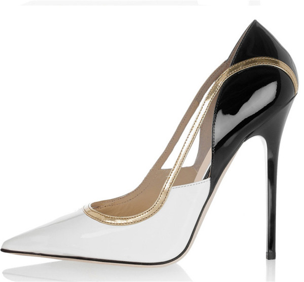 Hot Sale-Women White Black Leather Gold Trim High Heels Punta puntiaguda Slip On Classic Mixed Colors Pumps Patchwork Fashion Shoes Mujeres