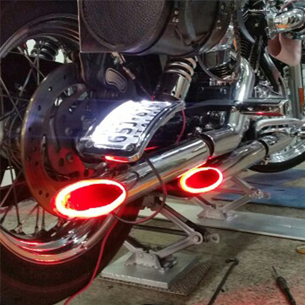 best selling 1Set Motorcycle LED Light Red Motorbike Exhaust Pipe Lamp Warning Firing Indicators Scooter Refit Torching Thermostability Light